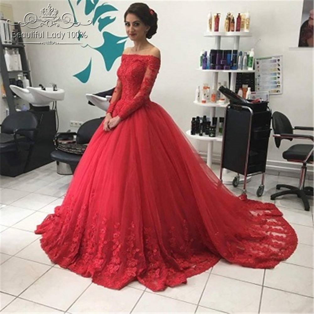 Red Lace Tulle Ball Gown Prom Dresses 2017 Long Sleeves Off the ...