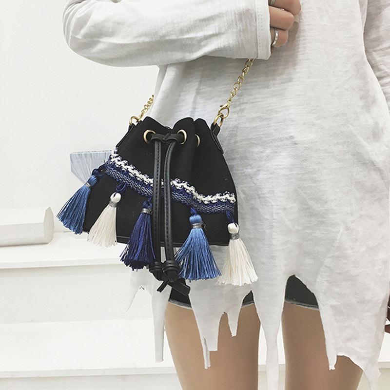 Women's Vintage Messenger Bags Popular Chains Shoulder Handbags Korean Version Canvas Drawstring Bucket Bag