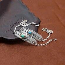 купить 925 sterling silver Chain Bracelet for men women Takahashi Goro mosaic Blue Green feather Bracelet Bangle Retro Fine Jewelry по цене 3015.36 рублей