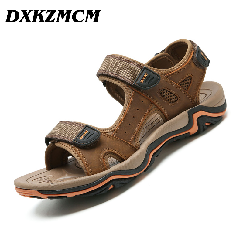 DXKZMCM 2018 Summer Leisure Beach Men Shoes High Quality Genuine Leather Mens Sandals