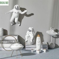 Nordic Decor Sculpture Home Character Astronaut Statue Office Rocket UFO Hero Miniatures Model Creative Figure Figurines Crafts