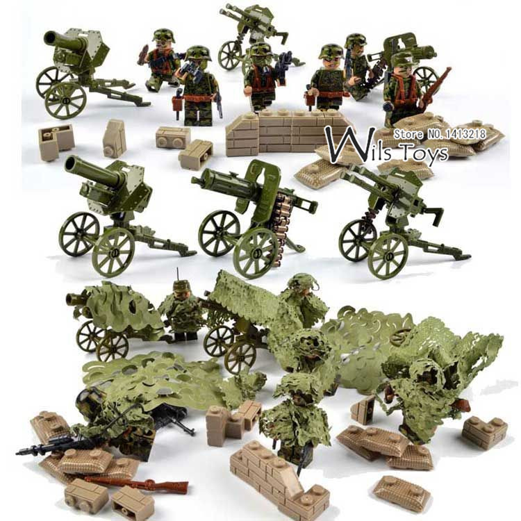 Armed Assault Military Army World War 2 Weapon SWAT Soldier Gun Heavy Fire Building Blocks Boy Educational Toy children Gift Kid xinlexin 317p 4in1 military boys blocks soldier war weapon cannon dog bricks building blocks sets swat classic toys for children