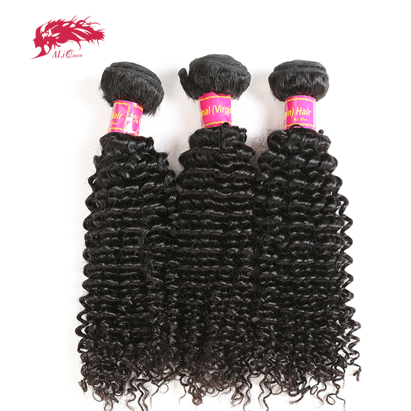 Ali Queen Brazilian One-Donor Unprocessed Virgin Afro Kinky Curly Hair 3 Virgin Human Hair Bundle Weave Extension Natural Color