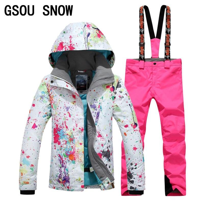 Gsou neige femmes veste de Ski en plein air hiver Ski costume femmes imperméable coupe-vent Snowboard manteau DHL3-7