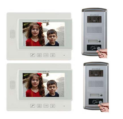 ZHUDELE For 2 Doors Home Security Intercom System 2X7 Video Door Phone Monitor FRID Panel IR Camera w/t Waterproof Cover