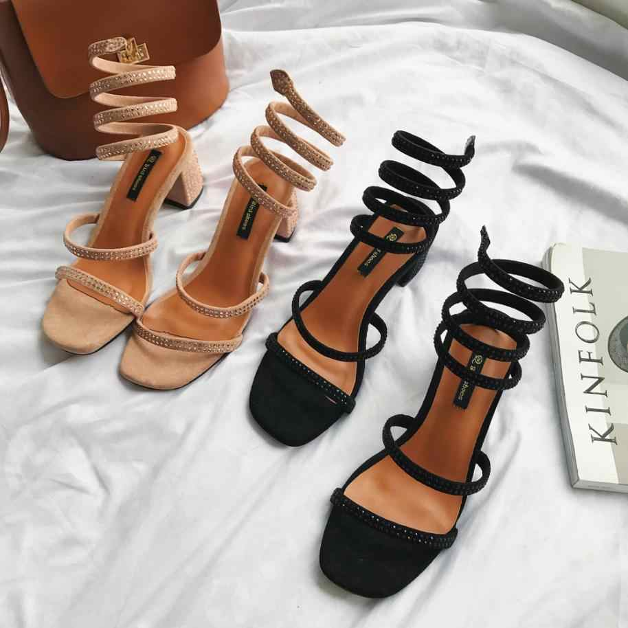 Comfort Women Summer Sandals Fashion Solid Color Leather Gladiator Crasyal Square Med Heel Square Toe Rome Shoes High Quality