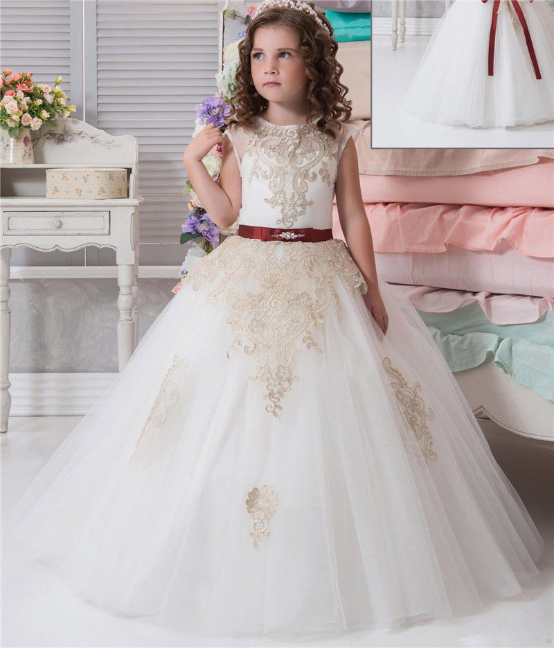White Flower Girl Dresses beautiful Ball Gown Sleeveless Long Pageant Champagne Lace Girl Gowns for Weddings Party Dress fashionable sleeveless sequins embellish multilayered flower spliced mini ball gown dress for girl