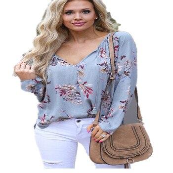 c97bf659353 Женская топа и блузка с v-образным вырезом шифоновая блузка с длинным  рукавом Туника Блузки модные цветочные рубашки уличная Праздничная пл.