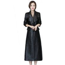 b Leather Jacket Autumn 2019 Womens New PU Soft Casual Coat Slim Lapel Long Black
