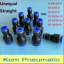 Encaixe de ar rápido pneumático unigual 10x pg apg 6-4mm, 10mm 12mm a 4mm 6mm conector de acoplamento de tubo de 8mm, PG8-6 PG8-4 PG10-6 PG12-6