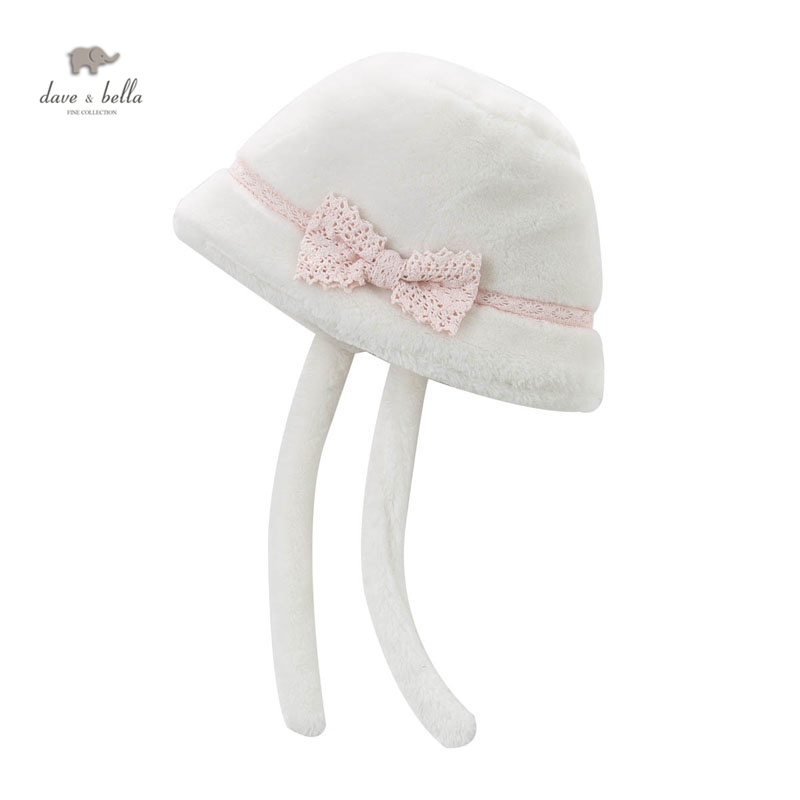 DB4180 DAVE BELLA girls beige Endland style cap baby hat with fur