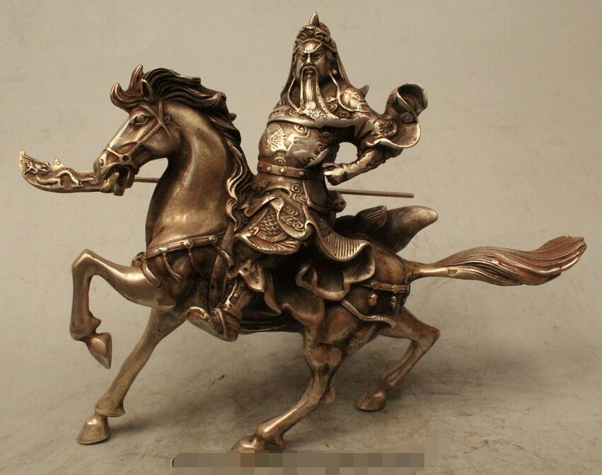 """Details about 7"""" China Folk Silver General Guan Gong Yu Warrior God Ride Horse Running Statue R0715 Discount 35% statue lion statue stone statue pictures - title="""