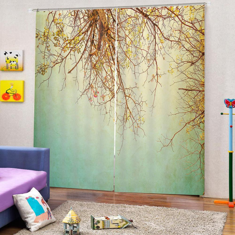 Customize Curtains Tree View 3D Curtains Living Room Bedroom Photo Print Curtains