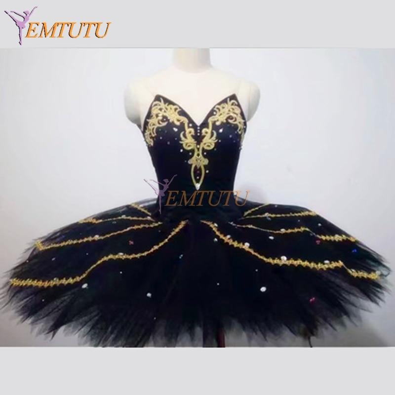 Swan Lake Professional Ballet Costumes Black Gold Women