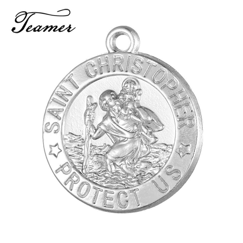 4609cf79f10 Teamer 20pcs/lot St Saint Christopher Medal Pendant Catholic Protection  religious Charm DIY Bracelet Necklaces