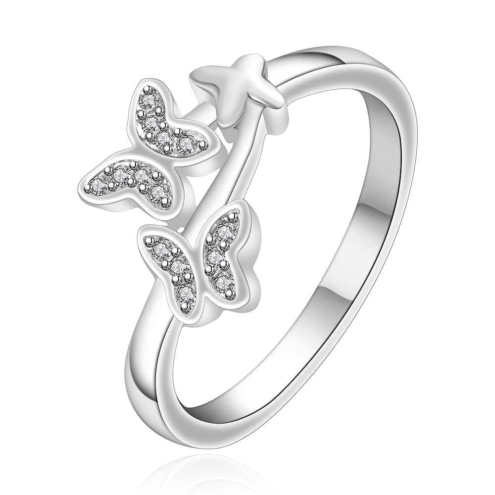 Hot 2015 silver-plated rings women double butterlly aneis joias - Spring fashion Jewelry Co.,Ltd store