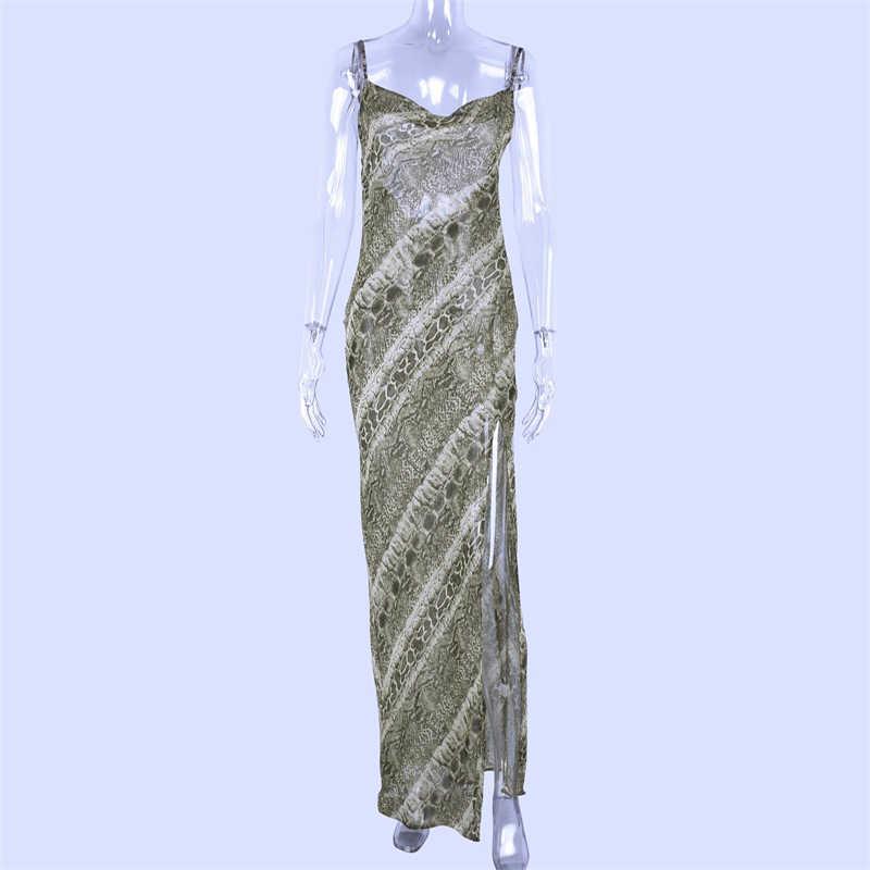 Hugcitar mesh see through snake print sexy slit floor lengte slip maxi jurk 2019 zomer spaghettibandjes elegante jurk