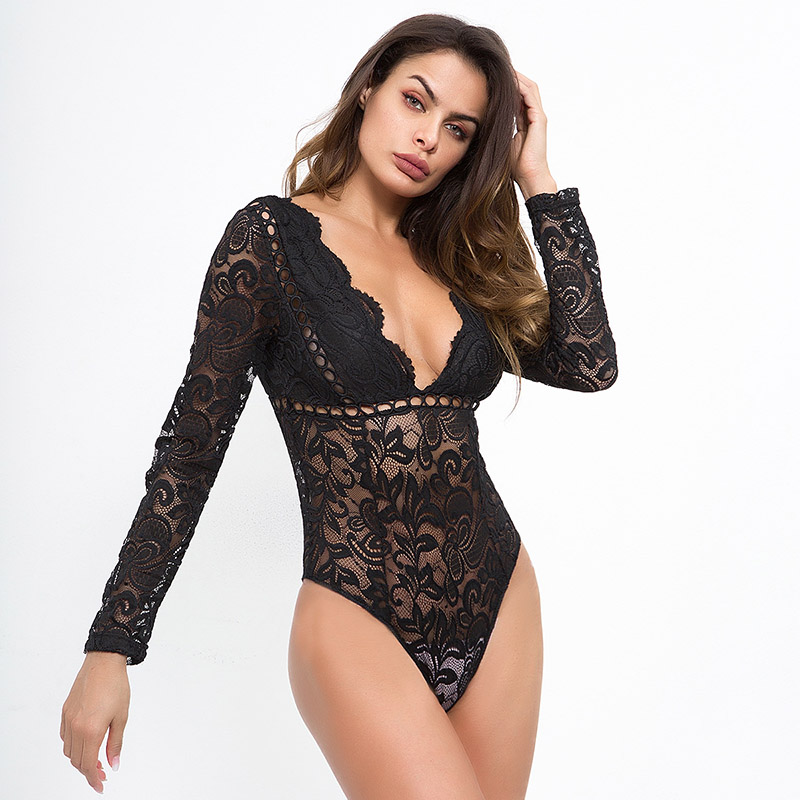 Simenual Deep v neck lace bodysuit women autumn 2018 transparent sexy hot bodysuits long sleeve sheer white body   jumpsuit   female