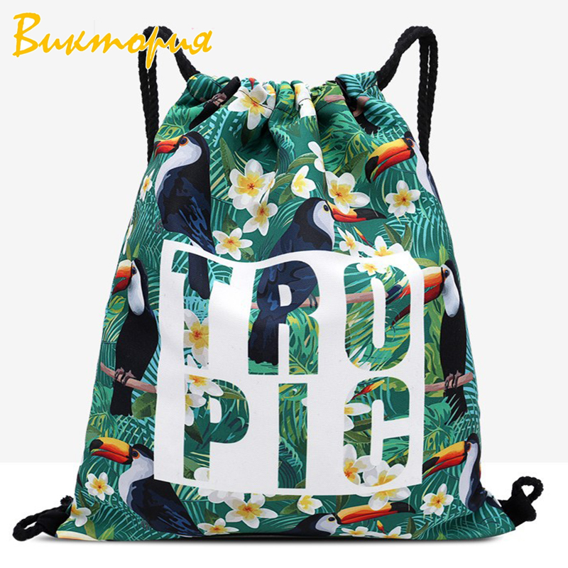 Backpack Drawstring Daily Casual Bag Creative Printing Drawstring Beam Bag Outdoor Sports Travel Fitness Bag Large Capacity in Drawstring Bags from Luggage Bags