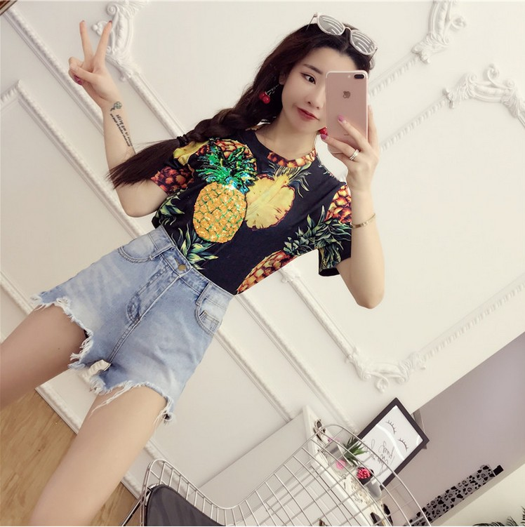 HTB1MMzlQVXXXXXZapXXq6xXFXXXc - Top Hot Sequined Print Pineapple Women t shirt Short Sleeve
