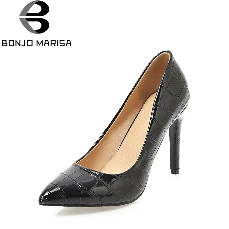 BONJOMARISA Women's High Heels Pointed Toe Patent Party Wedding Office Shoes Woman White Pink Black Red Pumps Big Size 34-43