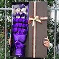 Caliente la venta de jabón rosas flores y oso de peluche precioso ramos de dibujos animados regalo de san valentín ramo of the peluches envío gratis
