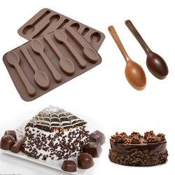 Silicona 6 cuchara de agujeros forma Fondant molde pastel herramientas de decoración 1 pieza molde de chocolate pastel hornear cocina DIY gelatina caramelo jabón