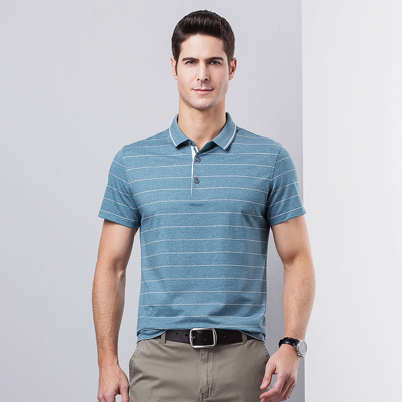 High-quality summer male   polo   shirts cotton stripes business men's   polos   short-sleeved shirt