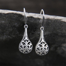 2018 Antique 925 Sterling Silver Earrings Bohemian Style Carved Waterdrop Dangle Drop For Women Xmas Gift