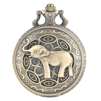 Hollow Asian Elephant Pattern Fob Watch Vintage Bronze Quartz Pocket Watch Necklace Pendant Clock Retro Chain Gifts Dropshipping retro bronze men fashion pocket watch national austria the double eagle chain necklace quartz full hunter emblem clock male
