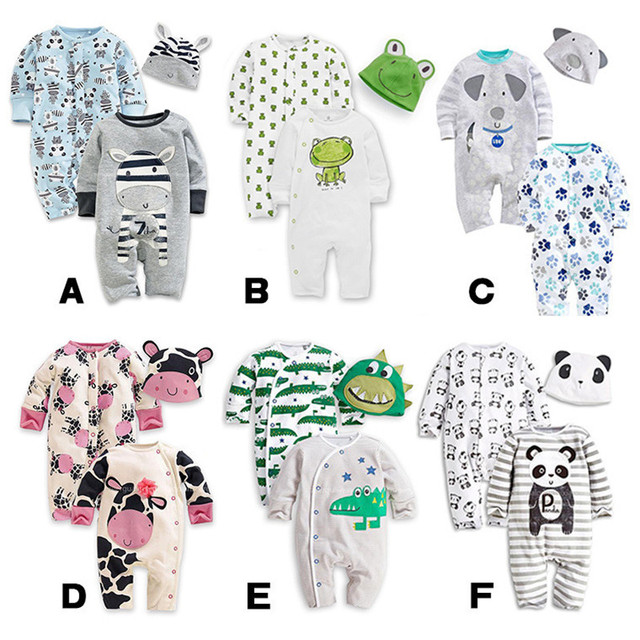 3Pcs/Set 0-24M Cute Animal Newborn Clothing Baby Rompers+Hat Cotton Baby Boys Girls Clothes Sets Jumpsuit Roupas Pajama Sets V20