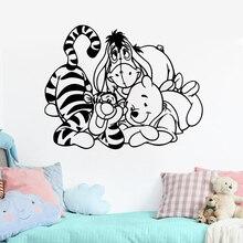 Winnie The Pooh Wall Sticker Bear Eeyore Tigger Piglet Stickers For Kids Rooms Cartoon Decal Vinyl Nursery ZW519