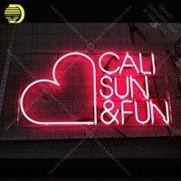 네온 cali 태양 & 재미 네온 전구 램프 붉은 심장 유리 튜브 장식 벽 클럽 침실 공예 광고 도매 예술 작품