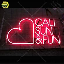Neon for the Cali Sun & Fun NEON Bulbs Lamp Red Heart GLASS Tube Decor Wall Club BedRoom Handcraft Advertise wholesale Art work(China)