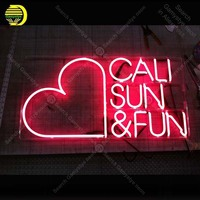 Neon for the Cali Sun & Fun NEON Bulbs Lamp Red Heart GLASS Tube Decor Wall Club BedRoom Handcraft Advertise wholesale Art work