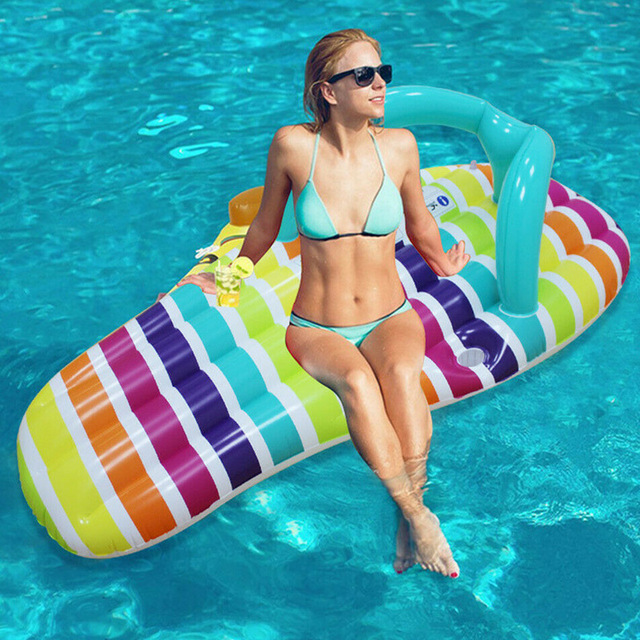 Summer Inflatable Water Hammock Floating Bed Slippers Lounge Chair for Swimming Pool Beach  for Kids&adult Swimming Mattress