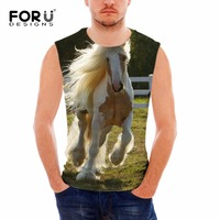 FORUDESIGNS Brand Clothing Men Tank Tops 3D Animal Horse Pattern Vests For Male Homme Summer Sleeveless