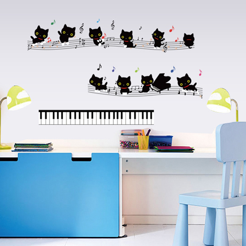 Cats Music Notes Symbols Piano Keys Wall Decal Paper Home ...