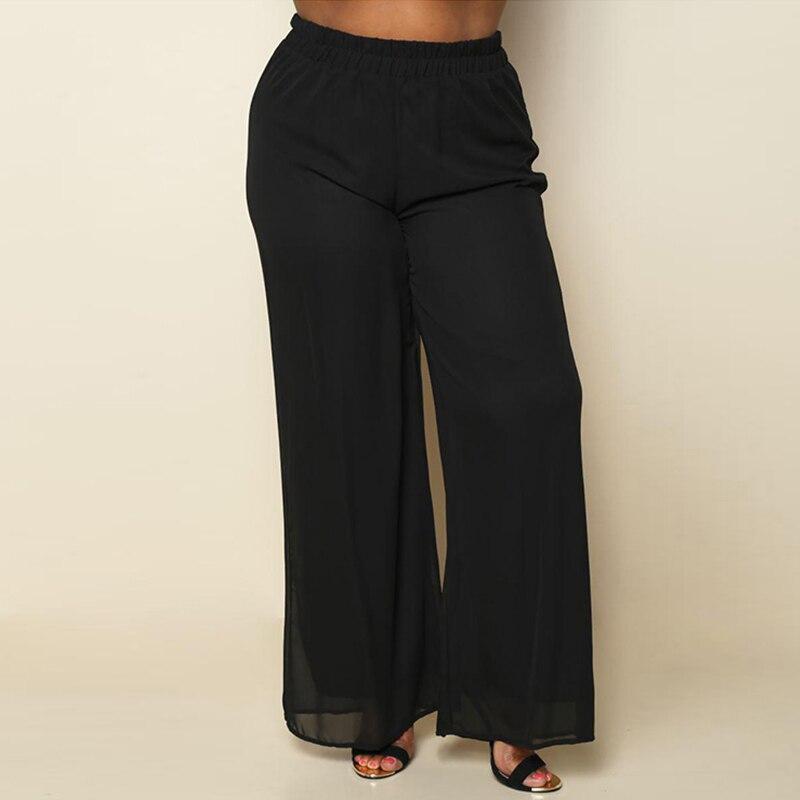 2018 Spring Office Lady Chiffon   Wide     Leg     Pants   Women Big Large Size Trousers Vintage Elastic Waist Oversized Trousers BC106