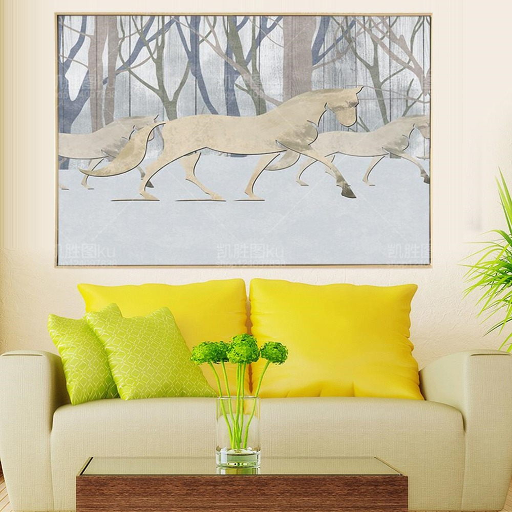 2017 Hot Sale Mordern Simple Horse Forest Canvas Art Print Painting ...