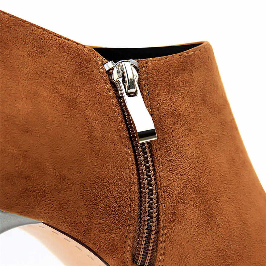 2019 Sonbahar Sivri Burun Metal Topuk Moda Bayanlar yarım çizmeler Yüksek Topuklu Ayakkabılar Kadınlar Katı Akın Yan Fermuar Özlü kısa çizmeler
