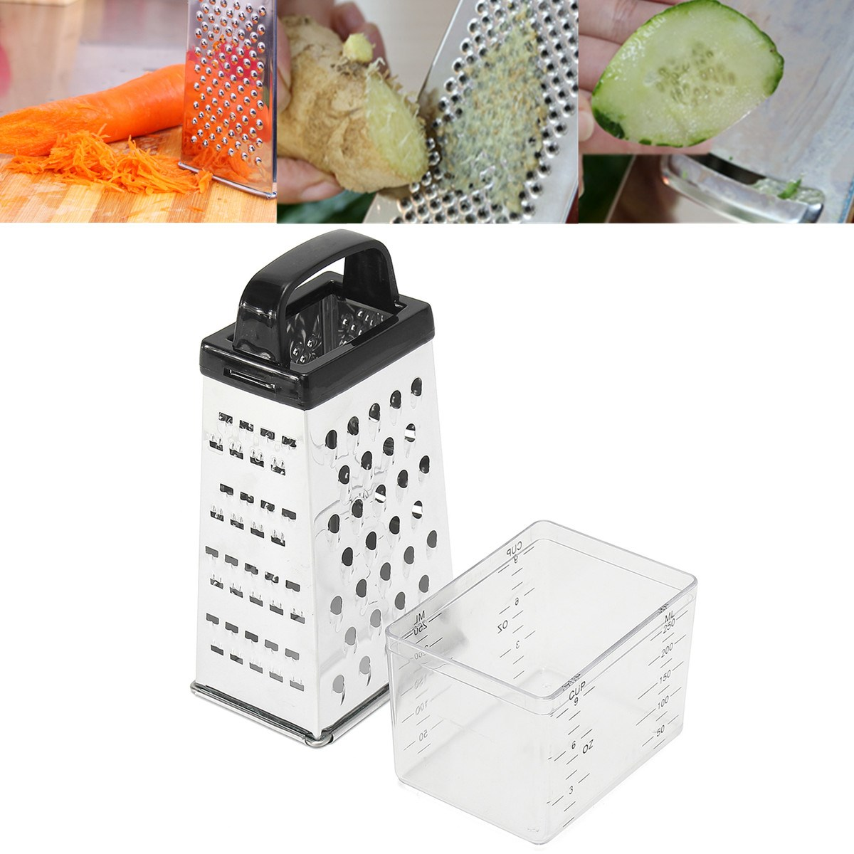 Kitchen Stainless Steel 4 Sided Blades Cheese Vegetables Grater Carrot Cucumber Slicer Cutter Box Container Black/White Random