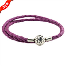 Honeysuckle Pink Leather Bracelets and Necklaces for Women Fits European Style Charm Beads 925 Sterling Silver Starry Sky Clasp dark blue leather bracelets and necklaces for women jewelry making fits european bead charm 925 sterling silver starry sky clasp