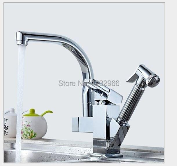 ФОТО Mixer Kitchen Torneira Cozinha Misturador Two Spouts Kitchen mixer tap 360 Degree swivel chrome faucet Torneira Mixer Basin