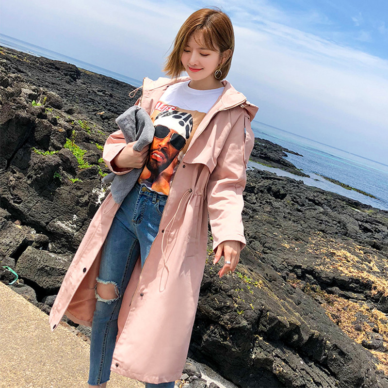 2019 Long Coat Women Spring Autumn Harajuku Windbreaker Full Sleeve Hooded Casual   Trench   Solid Female Fashion Overcoat Plus Size