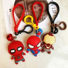 Cartoon hero iron man spiderman keychain Leather Rope Key Chains 3D Doll Ring Holder for Women Bag Pendant
