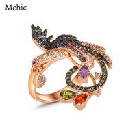 Yhpup Exquisite Phoenix Flower Statement Women Bijoux Rings Crystal Bird AAA Cubic Zirconia Exaggerated Jewelry Ring