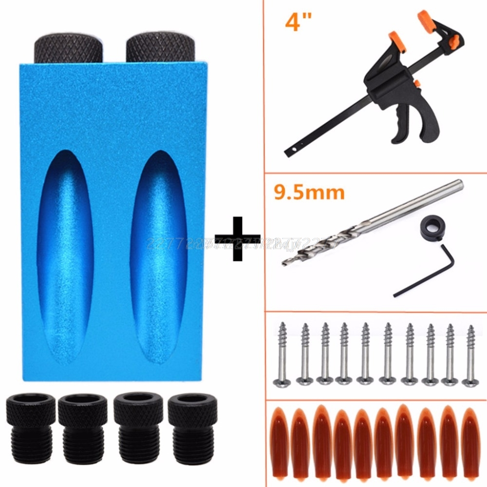 31pcs/set 15 Degree Angle Pocket Hole Jig Kit 6/8/10mm Drill Guide Puncher Locator Woodworking Tools A02 19 Dropship