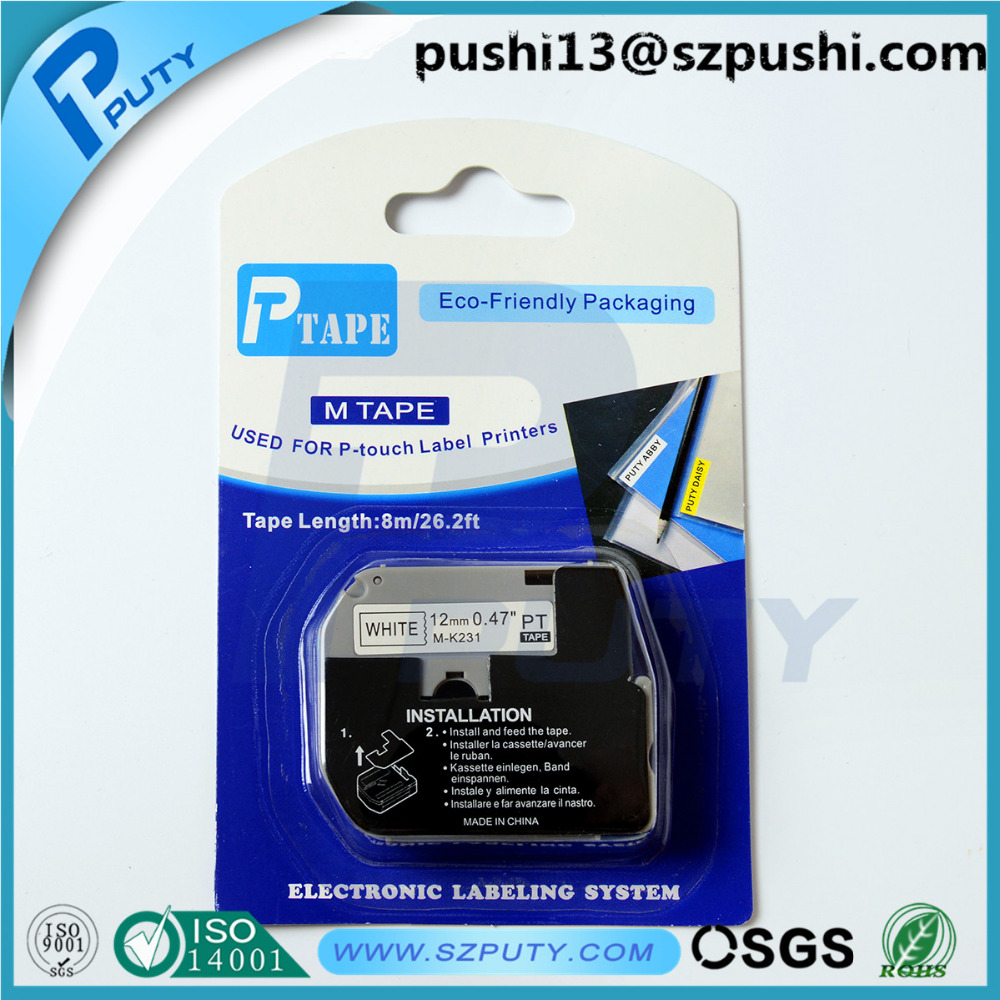 Hot sale 12mm black on white P-Touch M label tape M-K231 M K231 for p touch label maker PT100, PT110