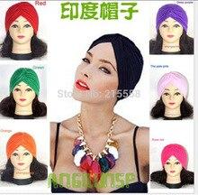 Stretchy Turban Head Sleep Hat Chemo Bandana Hijab Pleated Women Indian Cap Hat FEAL HT76